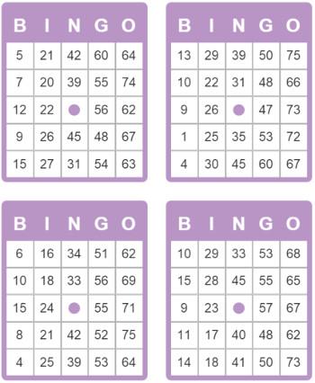 75 Bällen Bingo Karten